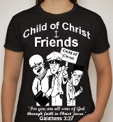 Friends-Woman-white image-black ss shirt